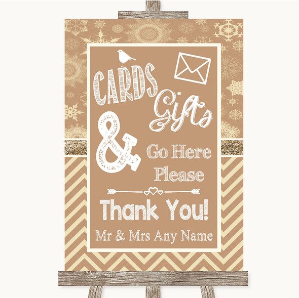 Brown Winter Cards & Gifts Table Personalised Wedding Sign