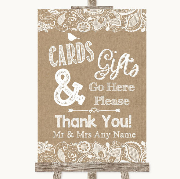 Burlap & Lace Cards & Gifts Table Personalised Wedding Sign