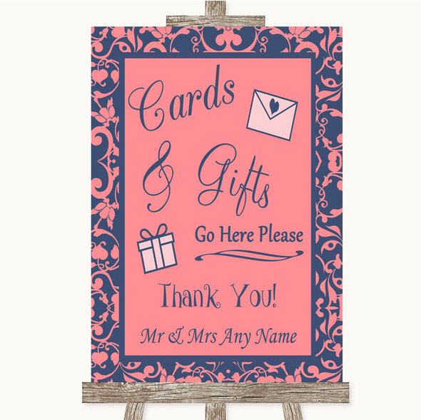 Coral Pink & Blue Cards & Gifts Table Personalised Wedding Sign