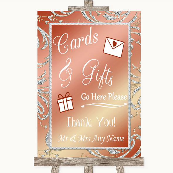Coral Pink Cards & Gifts Table Personalised Wedding Sign