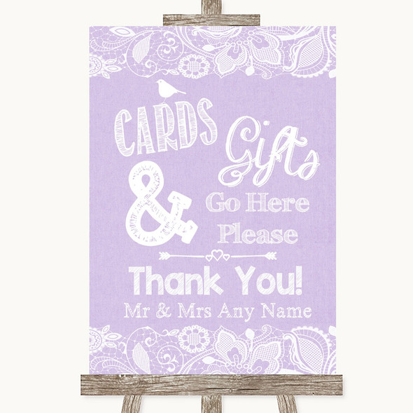 Lilac Burlap & Lace Cards & Gifts Table Personalised Wedding Sign