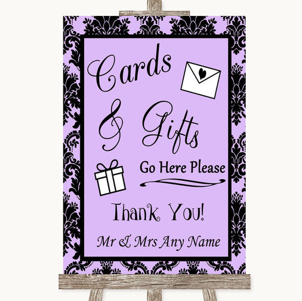 Lilac Damask Cards & Gifts Table Personalised Wedding Sign