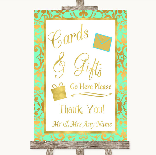 Mint Green & Gold Cards & Gifts Table Personalised Wedding Sign