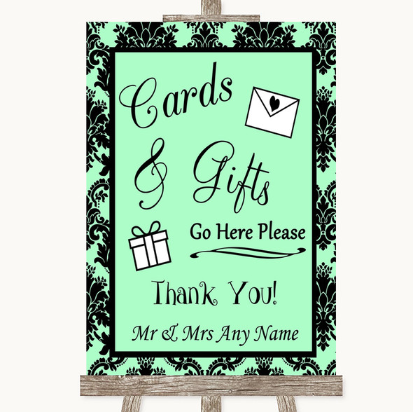 Mint Green Damask Cards & Gifts Table Personalised Wedding Sign