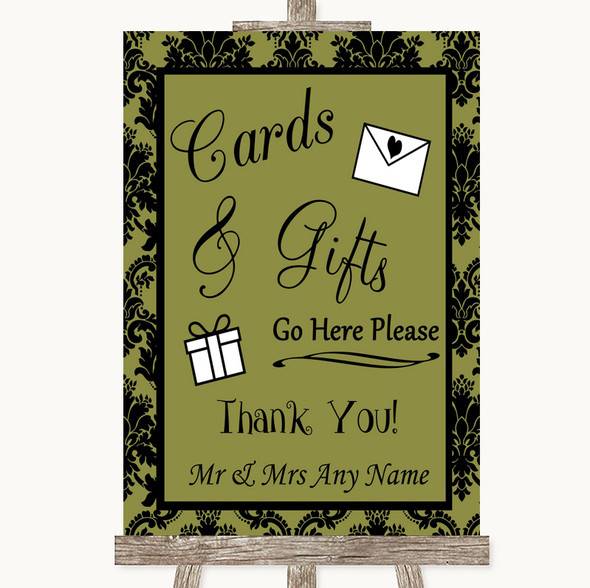 Olive Green Damask Cards & Gifts Table Personalised Wedding Sign