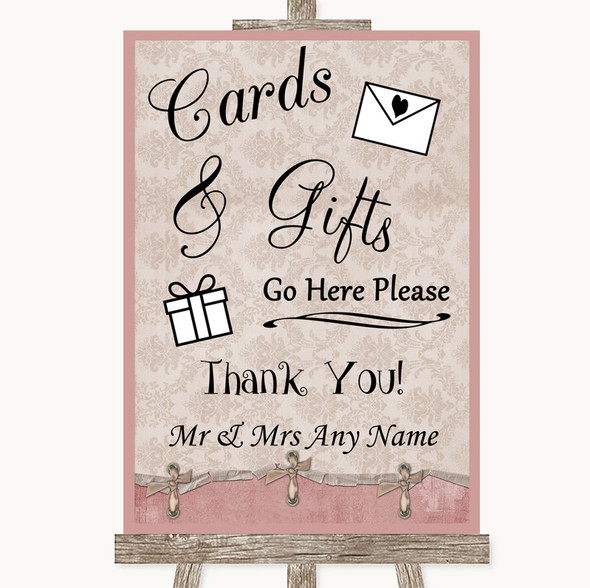 Pink Shabby Chic Cards & Gifts Table Personalised Wedding Sign
