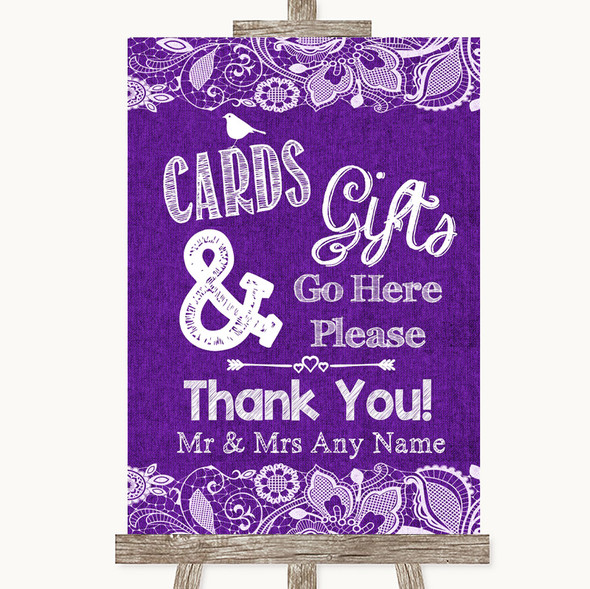 Purple Burlap & Lace Cards & Gifts Table Personalised Wedding Sign