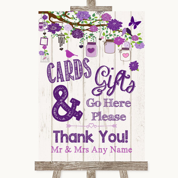 Purple Rustic Wood Cards & Gifts Table Personalised Wedding Sign