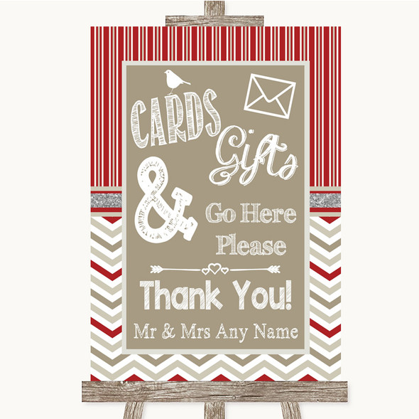 Red & Grey Winter Cards & Gifts Table Personalised Wedding Sign