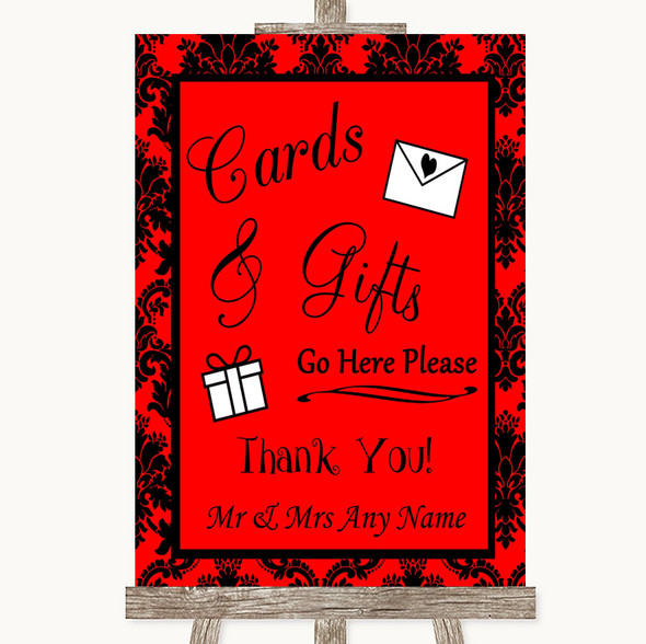 Red Damask Cards & Gifts Table Personalised Wedding Sign
