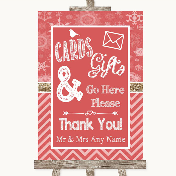 Red Winter Cards & Gifts Table Personalised Wedding Sign