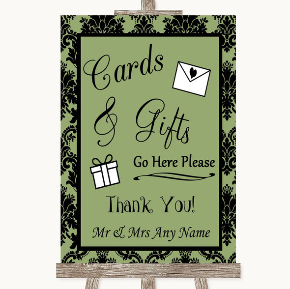 Sage Green Damask Cards & Gifts Table Personalised Wedding Sign