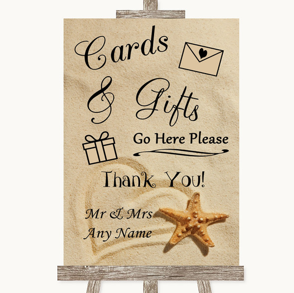 Sandy Beach Cards & Gifts Table Personalised Wedding Sign