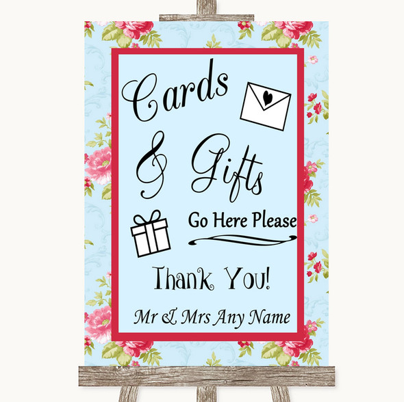 Shabby Chic Floral Cards & Gifts Table Personalised Wedding Sign