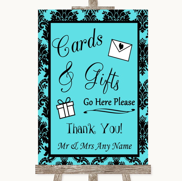 Tiffany Blue Damask Cards & Gifts Table Personalised Wedding Sign
