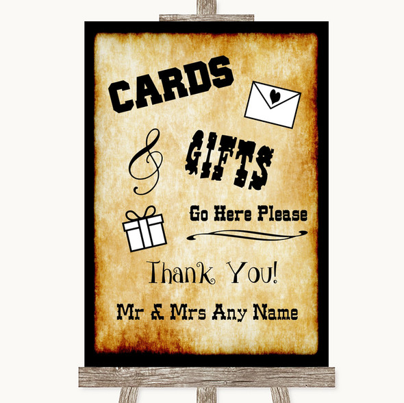 Western Cards & Gifts Table Personalised Wedding Sign