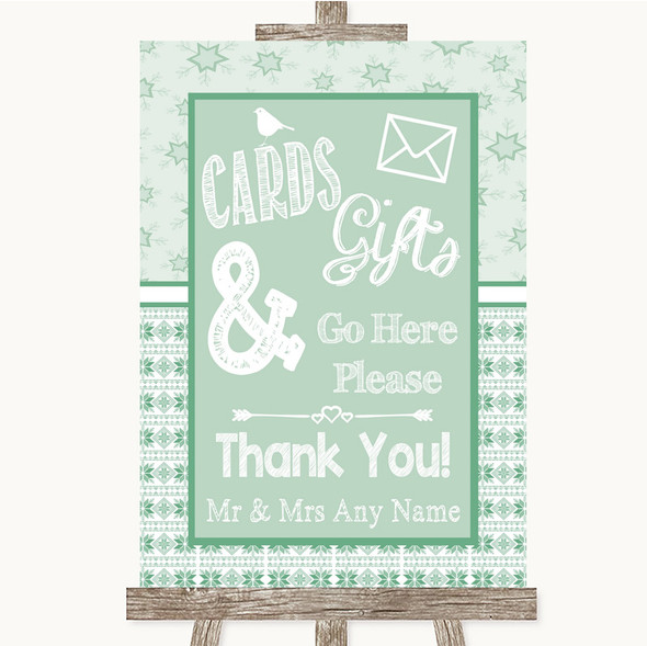 Winter Green Cards & Gifts Table Personalised Wedding Sign