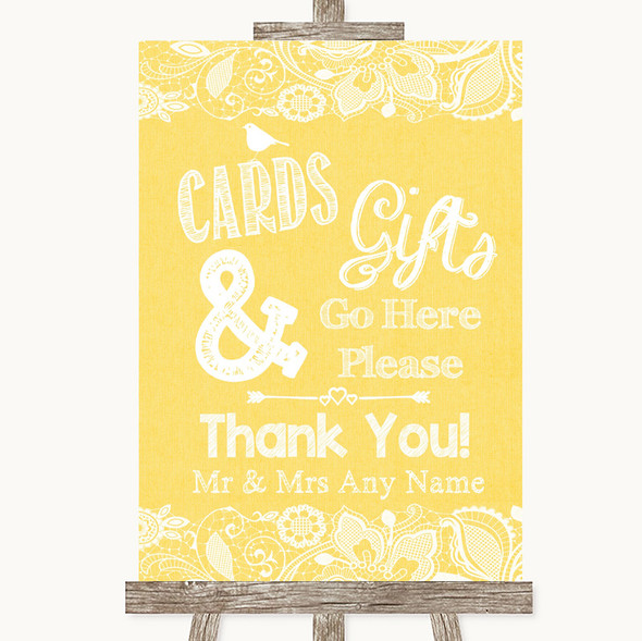 Yellow Burlap & Lace Cards & Gifts Table Personalised Wedding Sign