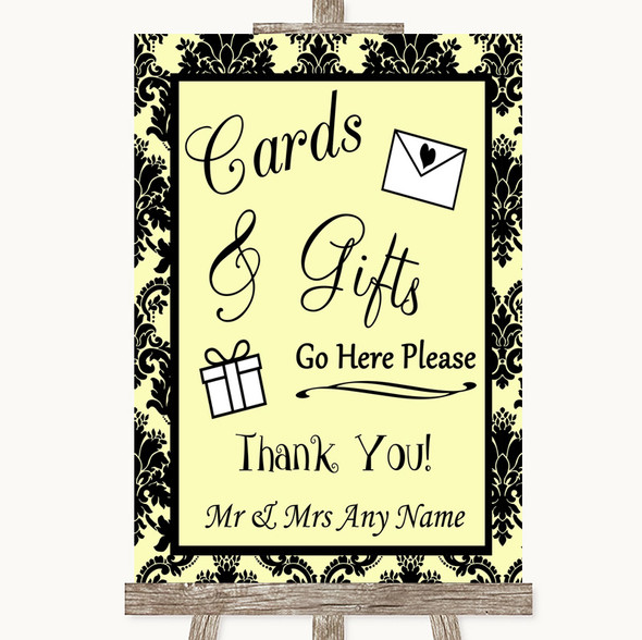 Yellow Damask Cards & Gifts Table Personalised Wedding Sign