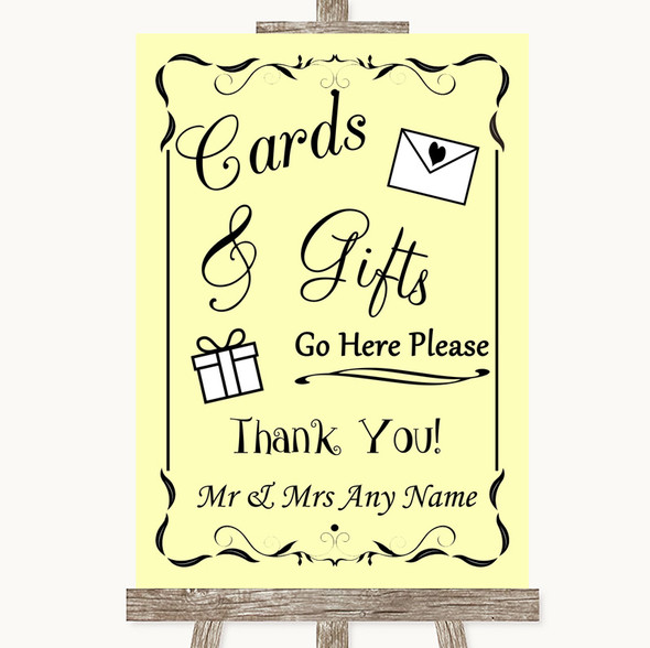 Yellow Cards & Gifts Table Personalised Wedding Sign