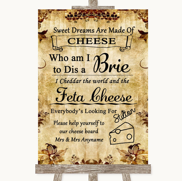 Autumn Vintage Cheese Board Song Personalised Wedding Sign