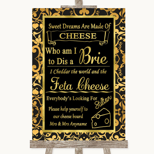Black & Gold Damask Cheese Board Song Personalised Wedding Sign