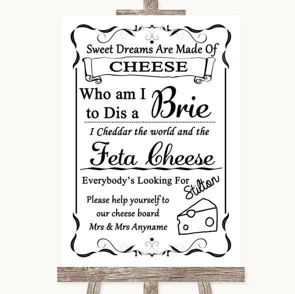 Black & White Cheese Board Song Personalised Wedding Sign
