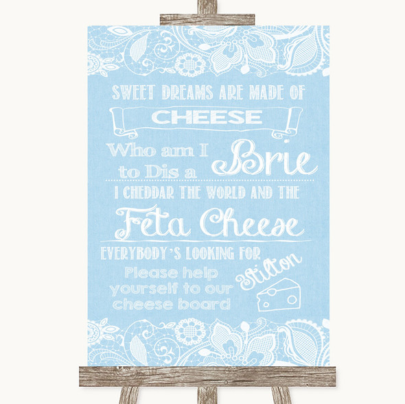 Blue Burlap & Lace Cheese Board Song Personalised Wedding Sign