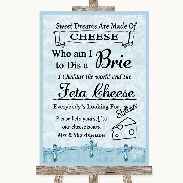 Blue Shabby Chic Cheese Board Song Personalised Wedding Sign