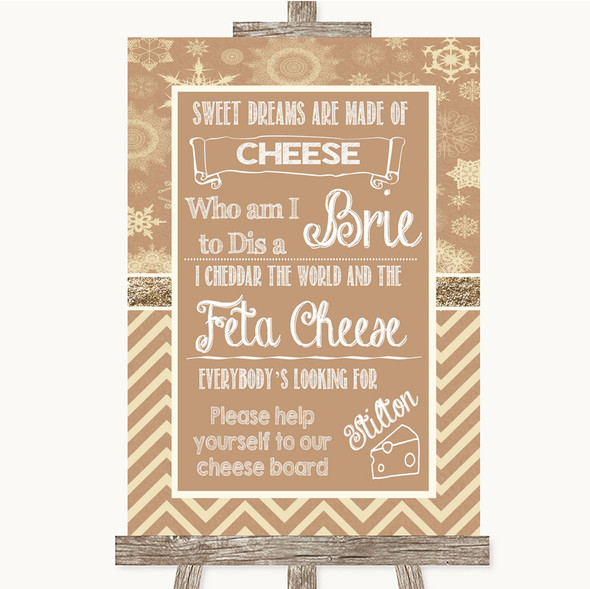 Brown Winter Cheese Board Song Personalised Wedding Sign