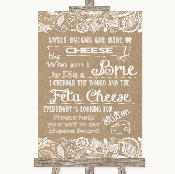 Burlap & Lace Cheese Board Song Personalised Wedding Sign