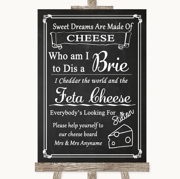 Chalk Style Cheese Board Song Personalised Wedding Sign