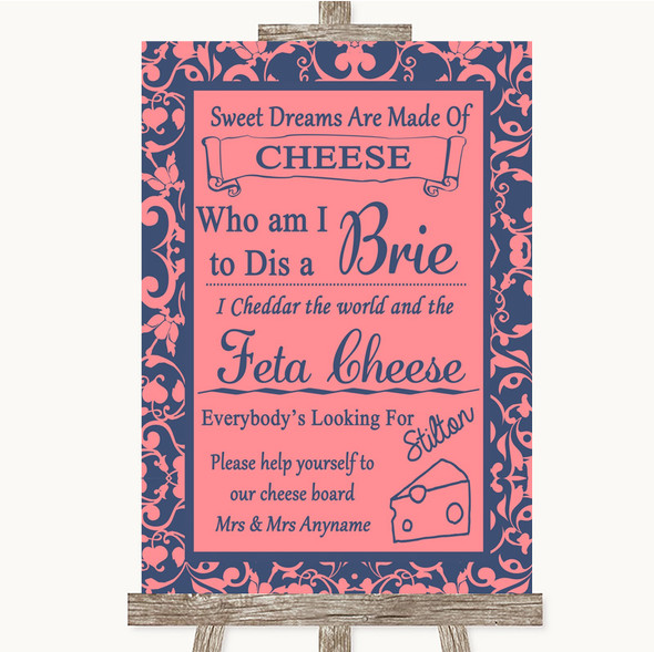 Coral Pink & Blue Cheese Board Song Personalised Wedding Sign