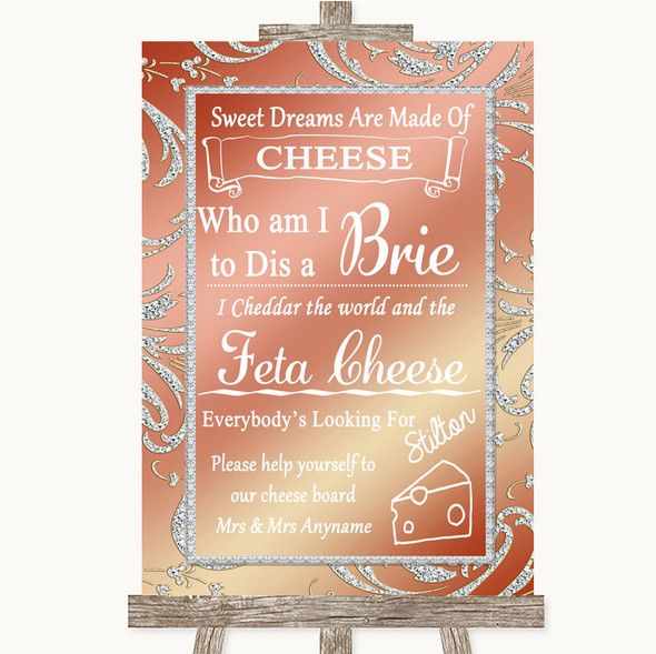 Coral Pink Cheese Board Song Personalised Wedding Sign