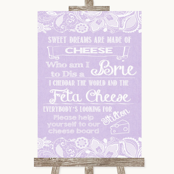 Lilac Burlap & Lace Cheese Board Song Personalised Wedding Sign