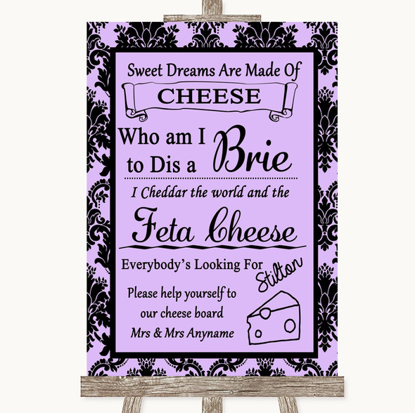 Lilac Damask Cheese Board Song Personalised Wedding Sign
