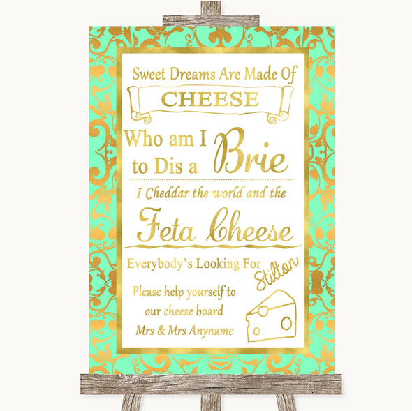 Mint Green & Gold Cheese Board Song Personalised Wedding Sign