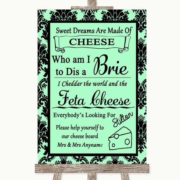Mint Green Damask Cheese Board Song Personalised Wedding Sign