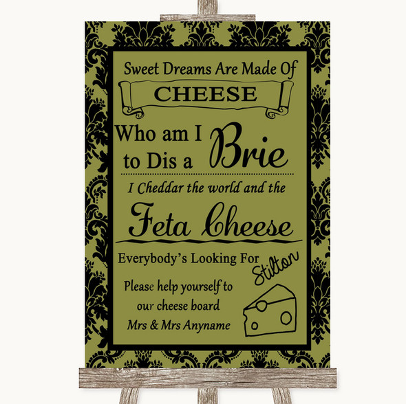 Olive Green Damask Cheese Board Song Personalised Wedding Sign