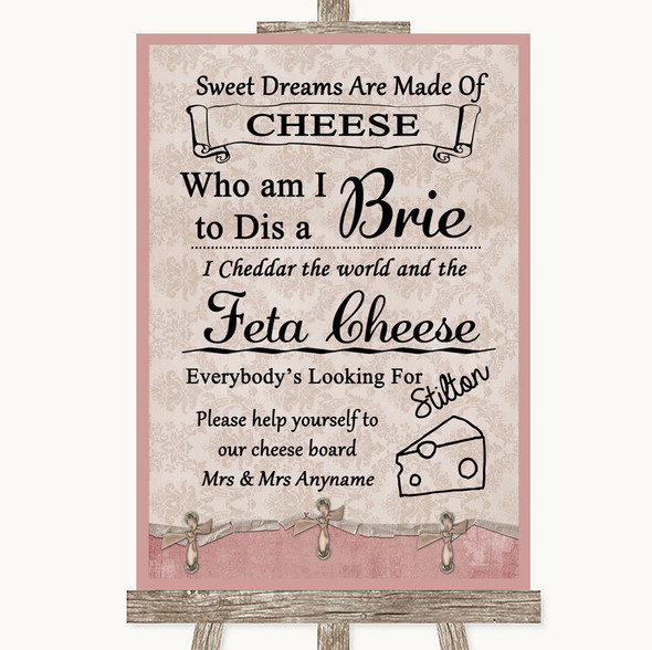 Pink Shabby Chic Cheese Board Song Personalised Wedding Sign