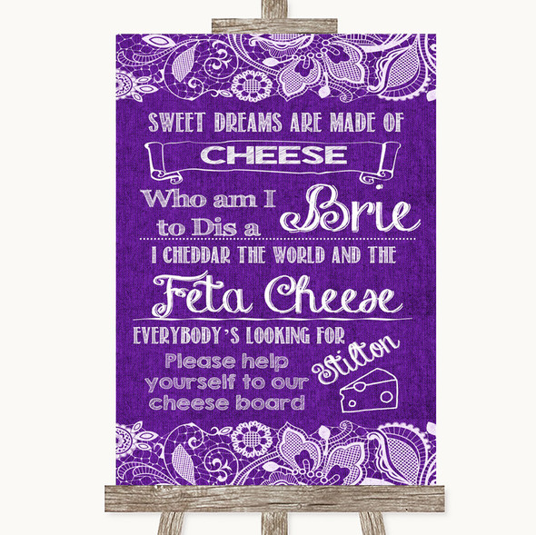 Purple Burlap & Lace Cheese Board Song Personalised Wedding Sign