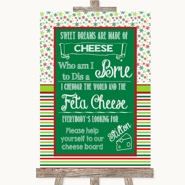 Red & Green Winter Cheese Board Song Personalised Wedding Sign