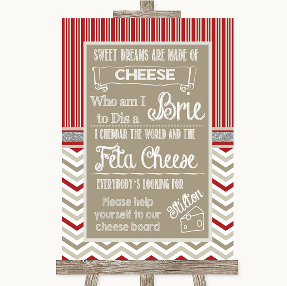 Red & Grey Winter Cheese Board Song Personalised Wedding Sign