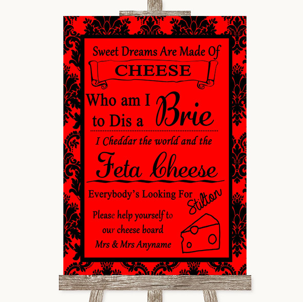 Red Damask Cheese Board Song Personalised Wedding Sign