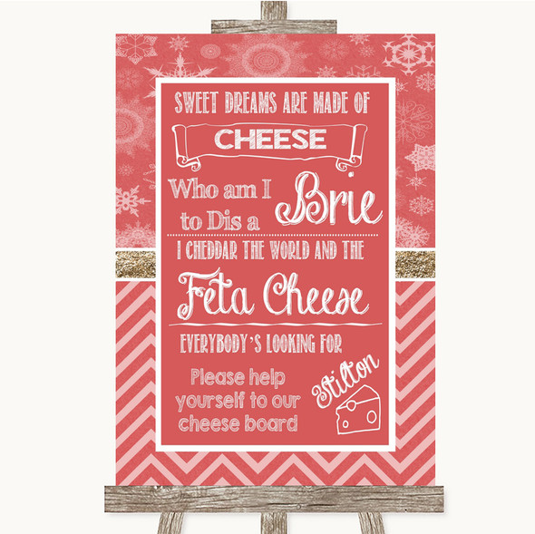 Red Winter Cheese Board Song Personalised Wedding Sign