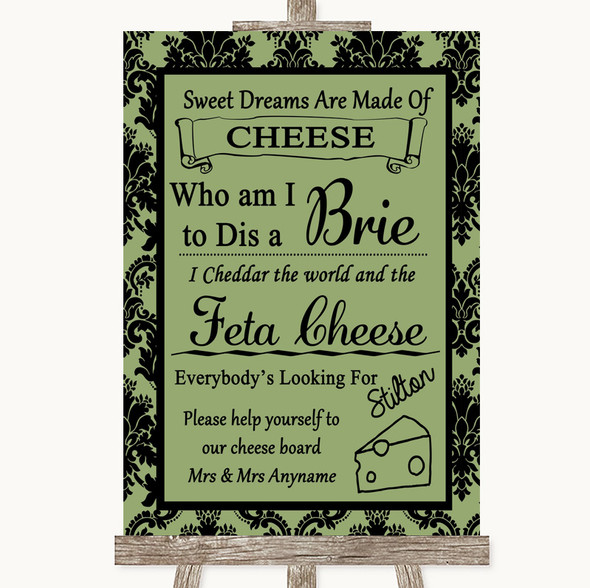 Sage Green Damask Cheese Board Song Personalised Wedding Sign