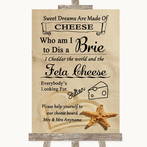 Sandy Beach Cheese Board Song Personalised Wedding Sign