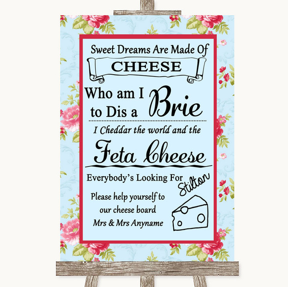 Shabby Chic Floral Cheese Board Song Personalised Wedding Sign