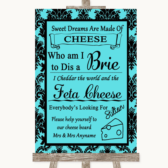 Tiffany Blue Damask Cheese Board Song Personalised Wedding Sign