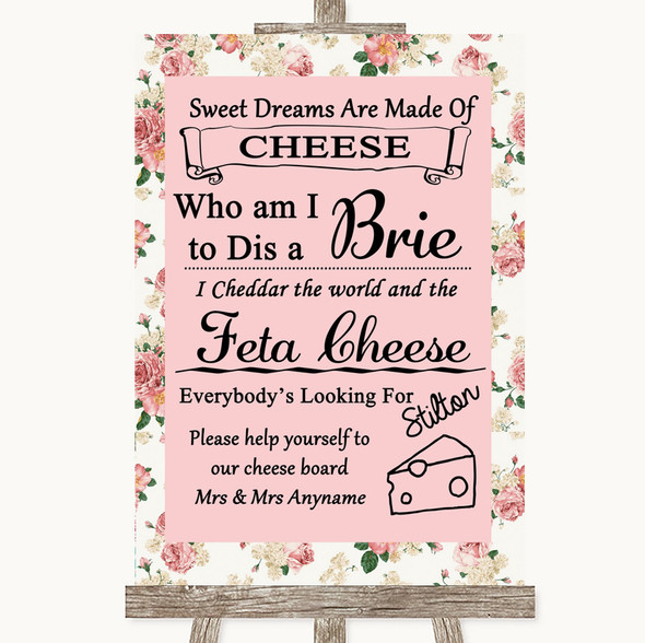 Vintage Roses Cheese Board Song Personalised Wedding Sign
